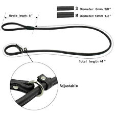 1| Laisse / collier LASSO-corde cuir-2 en 1 noir 1,20m / 8mm ou 13mm pour chien