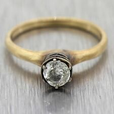 1860's Antique Victorian 14k Yellow Gold 0.50ct Rose Cut Diamond Solitaire Ring