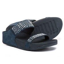 New Women`s FitFlop Novy Slides Sandals Nubuck, Rhinestones