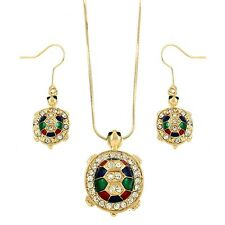 Turtle Necklace Pendant SET Charm SeaLife Rhinestone GOLD MULTI Owl Jewelry