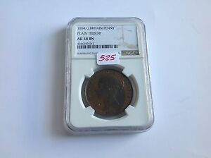 1854 Great Britain Penny Plain Trident NGC AU 58 Brown