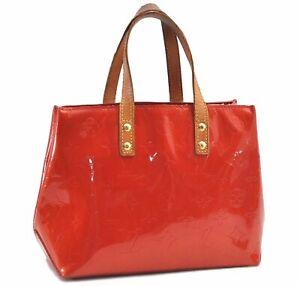 Authentic Louis Vuitton Vernis Reade PM Hand Bag Red M91088 LV D9934