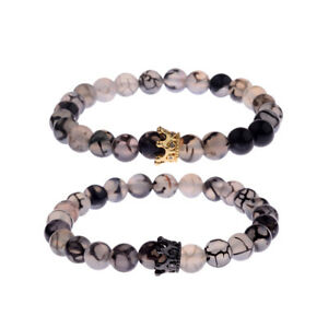 2Pcs Couple His And Hers Distance Bracelets Crown King Queen 8mm Beads Bracelets