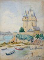 aquarelle - Saint Servan - tour Solidor 1929   - signée F Ehrlich