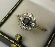 HM 18k 18ct Gold 0.50 Diamond Sapphire Daisy Cluster Engagement Ring Size S