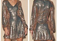 Rose Gold Sequin Long Sleeve Skater Dress by Lulu's