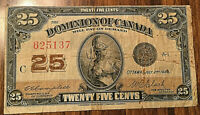 1923 DOMINION OF CANADA 25 CENTS PAPER MONEY TWENTY FIVE CENTS BANK NOTE