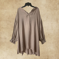 Boho Gypsy Hippie Peasant Taupe Top Tunic Blouse Balloon Sleeve  XL 1XL 2XL