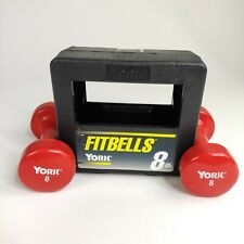 2 8 lb Dumbbells Vinyl Hex YORK Hand Weight RED 16 lbs with Case Fitbells