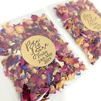 Natural Biodegradable Wedding Confetti Packets Personalised Sticker Petal Pack