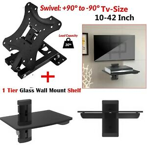 "Single DVD Glass Shelf Sky Box + 10 - 42"" TV Wall Bracket Tilt Swivel 3D LCD LED"