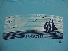 Vintage HAWAII POLY TEES Sailboat Tourist Cotton blue punk rock T Shirt size L