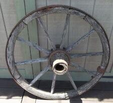 "Antique Wooden Wagon Wheel Wooden Spokes & Hub 42lbs Rustic Wheel Farm Wheel 36"""