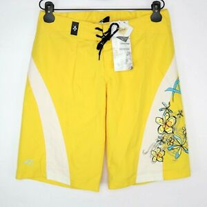 XO2 Soleil Womens Over Knee Board Shorts Yellow Size S