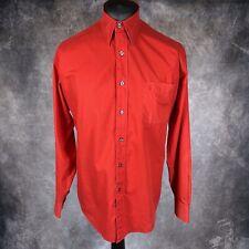 "Yves Saint Laurent YSL Red Cotton Long Sleeve Button Down Shirt 40/41 PTP 24"""