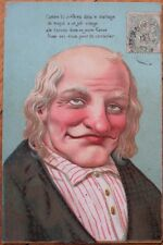 Old Man w/Large Nose- 1906 Color Litho French Postcarxc