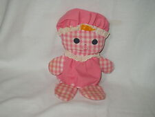 Fisher Price Pink Gingham Lolly Rattle Doll #420 dated 1975 Made in Korea ~ read