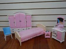 Barbie Size Dollhouse Furniture- Bed Room & Wardrobe Set