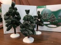 Dept 56 General Village Accessory 2002 VILLAGE FROSTED SPRUCE TREES 3 Pc 53085