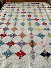 """WOW Antique Handmade Kite Star Feed Sack Quilt Well quilted by hand 68"""" x 79"""""""