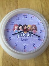 Girls Lego Friends Teaching wall Clock. Learn Tell Time Personalised. Xmas Gift