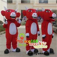 2019 Cow Mascot Costume Cosplay Party Advertising Red Ox Dress Adult Outfit Suit
