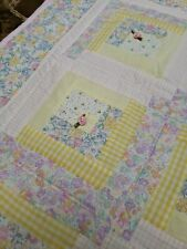 """New listing Pink Blue Multicolored Handmade Patchwork Nursery Baby Quilt 36""""x42"""""""
