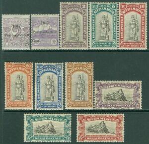 EDW1949SELL : SAN MARINO 1917-18 Scott #B1-11 Complete. VF, Mint OG LH. Cat