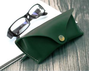 men women Eyeglass Cases sunglasses holder bag cow Leather Customize green z525