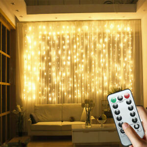 3x3M 300LED Curtain Fairy String Lights Backdrop Wedding Xmas Party Twinkle Lamp