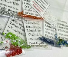 "5/64"" fly tying SEED beads [orange, white, silver, clear, green, peacock] midges"