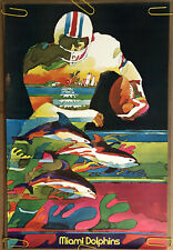 Original Vintage Poster Nfl Football Memorabilia Sports Pin Up Miami Dolphins