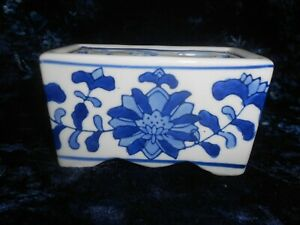 Vintage Blue and White Ceramic Hand Painted Flower Brick