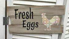 """Fresh Eggs"" w/Rooster Distressed Wooden Sign - 21317"