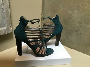 Charles David VICTORIOUS Ankle Cage Booties TEAL Snake/suede 38.5 US (M) BNWB