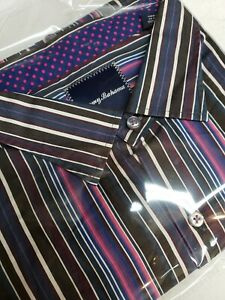 Tommy Bahama Island Twill L/S Button Shirt Mens 2XB Purple Pink Blue Stripe $138