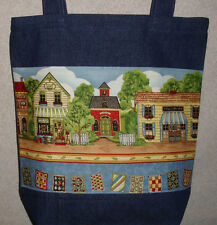 NEW Handmade Large Craft Village Shops Denim Tote Bag
