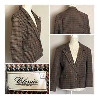 Debenhams Classic Vintage Wool Blend Boxy Blazer Jacket Smart Work Office UK14