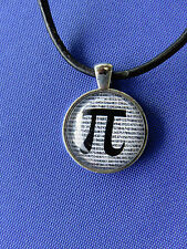"""Pi Day is 3/21: UNISEX Glass Dome Cameo Math Science Pendant 22"""" Black Leather"""
