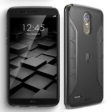 For LG Stylo 3 Slim Carbon Fiber Texture Soft TPU Rubber Case Cover Black