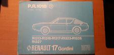 Renault 17 R17 GORDINI : catalogue pièces PR1018-1