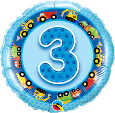 "3rd BIRTHDAY PARTY SUPPLIES BALLOON 18"" TRUCKS & DIGGERS NUMBER 3 BLUE BALLOON"