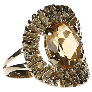 feiner Damen Ring in Gold 585 mit Citrin Gr. 51 (D2416)