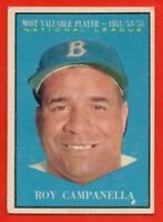 1961 Topps #480 Roy Campanella EX-EXMINT MVP Los Angeles Dodgers HOF FREE SHIP
