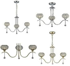 Crystal Chandelier Antique Brass Chrome Ceiling Light Oval Clear Beads Droplets