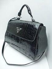 GUESS Women's Handbag*Bay View*Black w/Crocodile Print Satchel Shoulder Purse