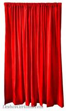 "Home Window Treatment Drapes Bright Red Velvet 84"" H Curtain Long Single Panel"