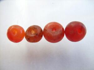 4 Ancient Roman Carnelian Beads Romans VERY RARE!  TOP !!