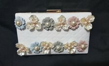 White Quilted Pleather Box Clutch with beaded Floral front, Golden rim and chain