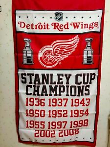 Detroit Red Wings Stanley Cup Champions Flag 3X5 FT NHL Banner Polyester FAST SH